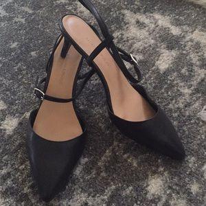 Black sling back heels